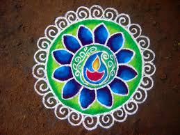 Creating Rangoli patterns using natural materials